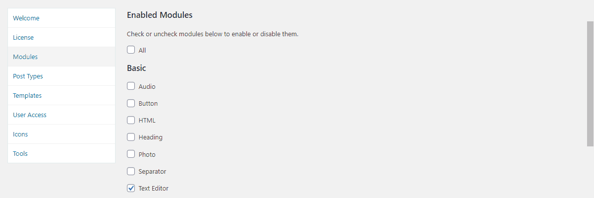 Disable Beaver Builder Modules Default 1